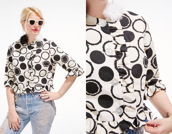 Vtg 60s MOD Cropped JACKET blouse shirt color block Black & White Polka DOTS Bolero Ruffle Geometric Print Retro GoGo Avant Garde Statement