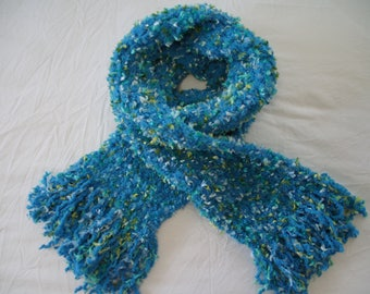 Handmade Crochet Super Soft Long Blue Scarf - Blue, Aqua, Yellowish-Green