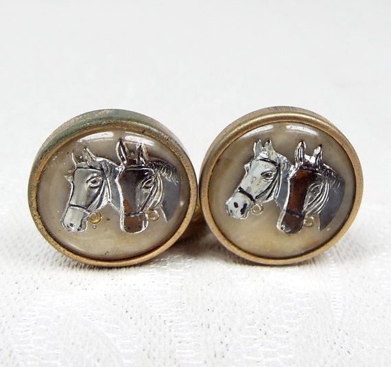 Vintage Gold Brass Reserve Carved Crystal 2 Horses Cufflinks Studs Buttons