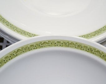 Vintage Corning Centura Lynnwood Bread Plate Set of 6 Green Floral Border Replacement PanchosPorch
