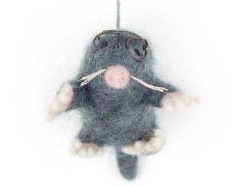 Mole with Specs -Felt animals - Needle felted Animal - Christmas-Wool felt-Woodland decorations-Baby shower-Merino wool - Ethical -Handmade