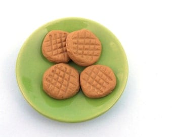 Peanut Butter Cookies Set of Four (4) -  Handmade Gourmet Doll Food For Your American Girl Doll