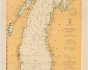 Nautical Chart of Lake Michigan, 1909