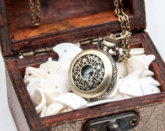 Vintage style pocket watch necklace pendants,necklace watches,floral watch necklaces supplies,antique bronze gun black P07