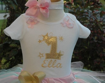 1st birthday girl outfit, twinkle twinkle stars tutu dress,one year old girl first girl outfit,,baby girl shabby chic