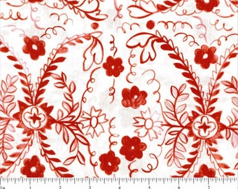 Molly Hatch fabric Tea Garden Red Heritage floral white 100% Cotton Fabric Sewing Quilting by the yard