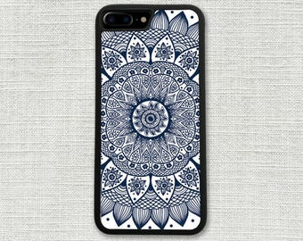 Blue Mandala iPhone 7 Case, Custom iPhone 7 Plus Case, Pretty Hipster Boho Bohemian 1015