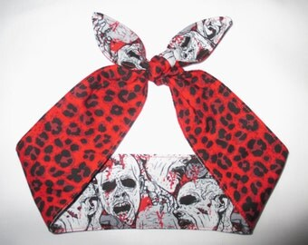 Reversible  Blood Splatter Zombies  Zombie Leopard red cheetah Head scarf Headband Pinup Psychobilly Rockabilly Horror Monsters Bloody Bow