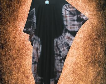 V-neck Tie dye Kaftan dress Symmetric Bleach Rusty Hand Dyed Caftan