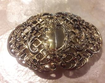 Vintage belt buckle/ 2 piece belt buckle/ Gold womans 80s belt buckle