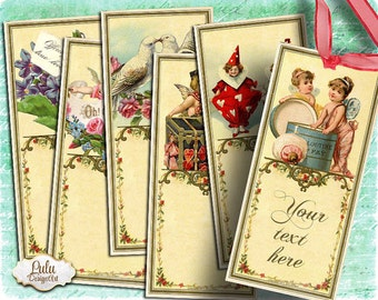Printable bookmarks, vintage bookmarks, digital collage sheet, digital bookmarks, digital cards, scrapbook embellishment, decoupage