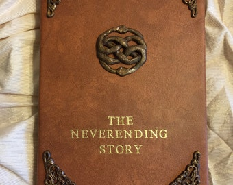 "New!***Neverending Story Book Faux Leather version Cover for iPads and other 8.9""-10.1"" tablets"