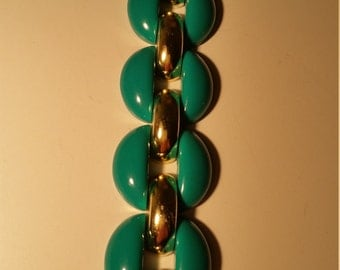 Emerald Green and Gold,  Chunky Link Bracelet