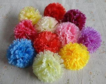 """50 pcs 9cm/3.54"""" Simulation Silk Carnation Flower Heads Artificial  Carnation Mother's Day Decoration"""