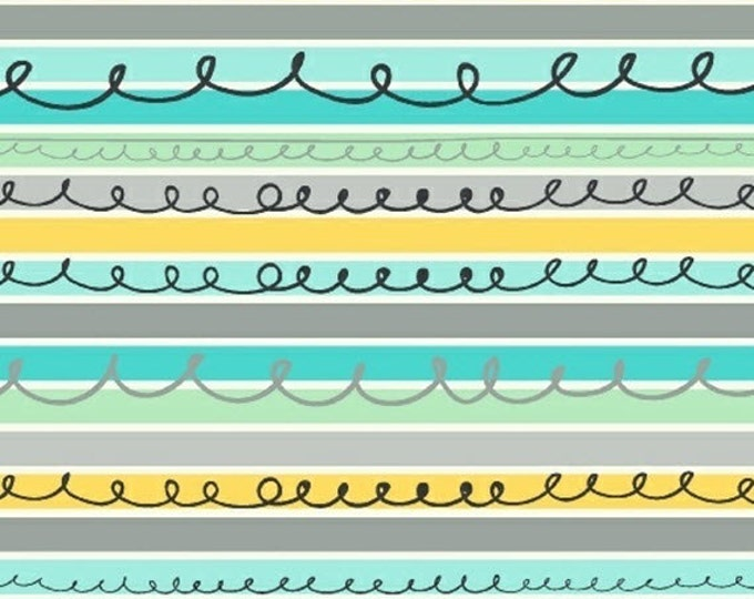 Half Yard Animal ABCs - Stripes in Turquoise - Stripe Cotton Quilt Fabric - by Whistler Studios for Windham Fabrics - 41325-2 (W3588)