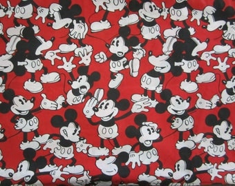Vintage Disney Mickey Mouse Twin Flat Red Black White Sheet