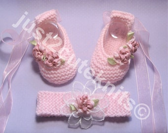 Hand Knitted Designer Baby Girls Ballet Booties & Matching Headband Newborn Special Occasion Baby Shower Original Reborn Doll #57