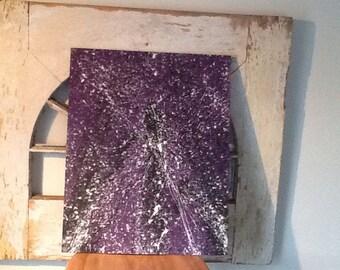 White and Black on Purple Splatter Painting/art