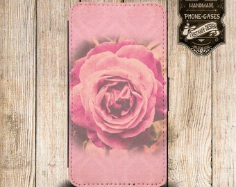 """Handytasche, Leather Wallet Phone Case  iPhone & Samsung,Sony Xperia  """" Rose """""""