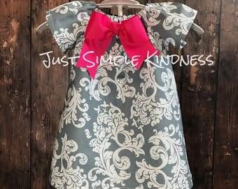 Girls Spring Dress, Girls Dresses, Girls' Clothing, Girls Damask Dress, Baby Dresses, Girls Elegant Dress, Gray Damask Dress, Pink and Gray