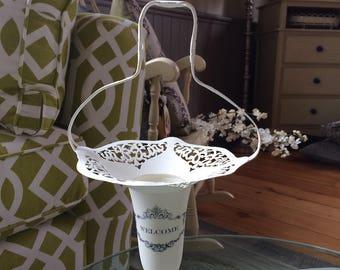 Re-purposed Silver Vase - Chalk Painted Silver Vase