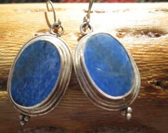 Vintage Lapis and Sterling Dangle Earrings