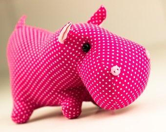Hippo toy animal safari fabric handmade kids game eco safe toy