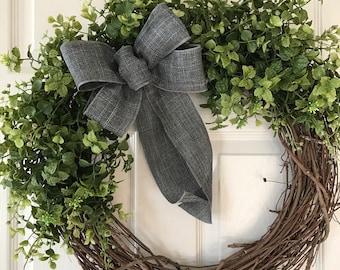 BOXWOOD WREATH,Summer Wreath,Front Door Wreath,All Year Wreath, Greenery Wreath, Grapevine Wreath,Fall  Wreath,Wedding Wreath