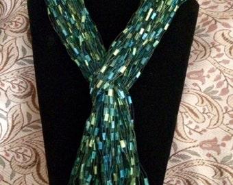 Scarf Green Teal Valentine scarves ladder yarn trellis ribbon knotted