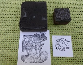 Old Vintage  / Antique? Letterpress Printing Block Sheep Lam scene Design