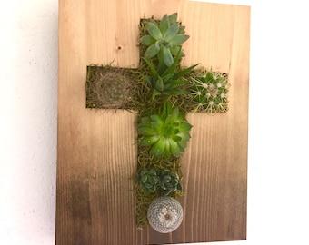 CUSTOM COLOR: Cross Succulent + Cacti Vertical Garden | Vertical Planter | Living Wall | Hanging Planter | Wood Planter