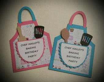 Baking Party Invitations - Cooking Party Invitations - Birthday Party Invitations Set of 8