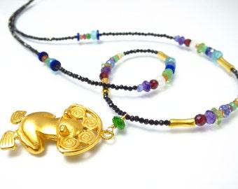 Colorful gemstone necklace tsavorite in matte gold antique look, tribal jewelry, garnet, gemstone jewelry amethyst, garnet, citrine, peridot
