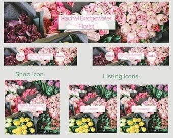 Premade etsy shop banner set, new cover set sizes, 6 pieces, beautiful floral tulip photo design