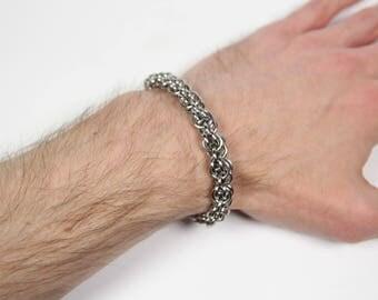 Medo-Persian Bracelet, Chainmaille Bracelet, Stainless Steel, Chainmail Bracelet, Chain Maille Bracelet, Mens Bracelet, Mens Jewelry