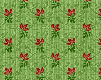 Songbird Christmas Green Print by Maywood Studio, 100% Premium Cotton