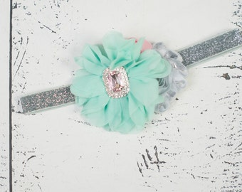 MINT PINK SILVER Headband, Baby headband, Mint Pink Silver Flower Girl Headband, Mint Girls Headband, Girls First Birthday Headband
