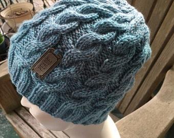 Peace - Message Hat - Hand knit - Light Blue Cables