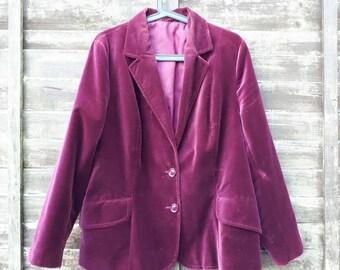 Velvet jacket velvet feel jacket 1980's vintage jacket aubergine jacket cotton jacket size 10/12