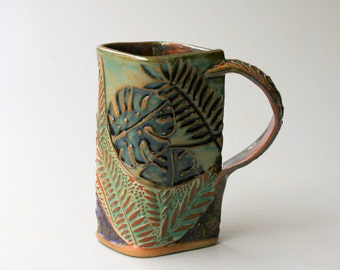 Tropical Foliage Pottery Mug Selloum Philodendron Coffee Cup Handmade Functional Tableware Microwave and Dishwasher Safe 16oz