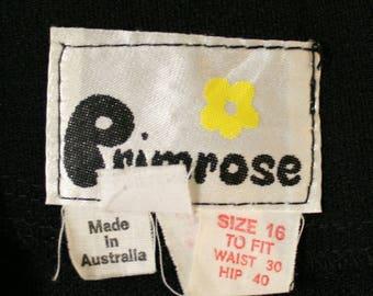 Vintage 1970s Black Crimplene Maxi Skirt Size 12 14 Primrose Made in Australia