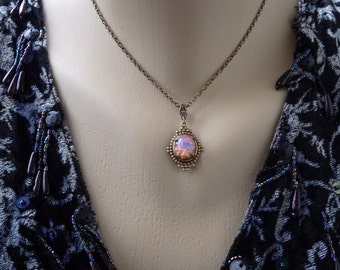 Small ~ Art Deco ~ Pink Opal Pendant ~ Colorful ~ Pink Harlequin Opal ~ Necklace ~ Vintage Glass ~ by LadyofTheLakeJewels
