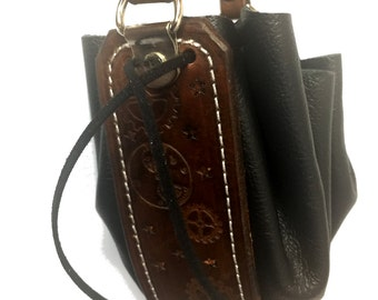 Details about  Steampunk Mini leather drawstring purse bag pouch cosplay gears choose color!