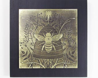 Etched Brass Art, Honey Bee, Bee Art, Nature Art, Framed Wall Hanging, Modern Rustic Wall Hanging, Metal Patina Art by daartshop