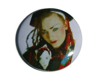 Rare Vintage BOY GEORGE Pin Brooch 80s Culture Club Band Pinback Button Badge Broach Collectible 1980s New Wave Music Memorabilia NOS Taiwan