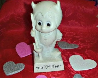 Vintage Devil Figurine YOU TEMPT ME 70s Kitsch Decor Love Lust Trophy American Greetings Office PaperWeight Sexy Valentines Cupid Day Gift