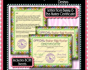 Letter From Easter Bunny & Egg Hunter Certificate -  Instant Download JPEG (M168) Digital JPG to Personalize