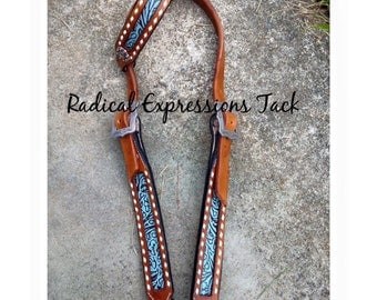 Turquoise floral headstall