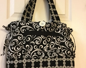 Quilted Bow Tuck Purse, Black and White Purse, Large Purse, Large Fabric Tote, Black Scroll Purse, Black Plaid Purse, Gift for grandmothers