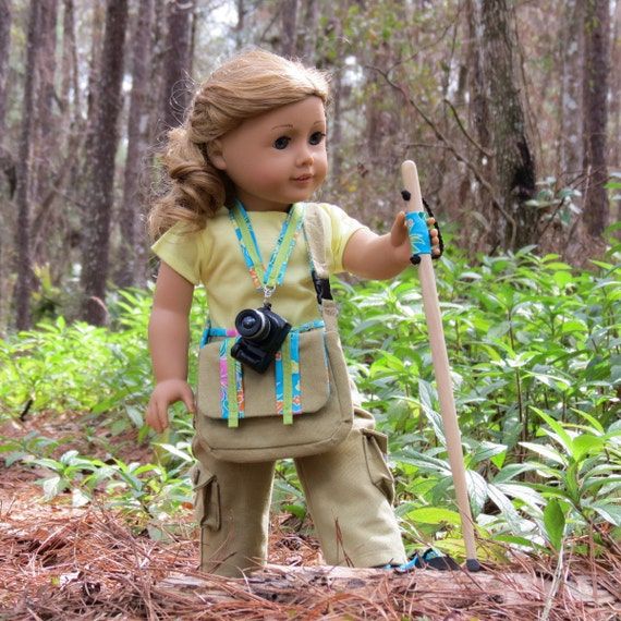 Doll HIKING SET Handcrafted for 18 Inch dolls such as American Girl®  Messenger Bag, Camera with Lanyard, and Hiking Staff